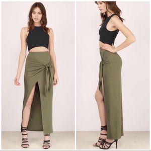 Tobi Skirts - Tobi VENICE OLIVE MAXI SKIRT size Small in Olive